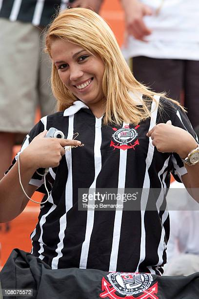 Supporter of Corinthians poses during a match against Portuguesa as part of the São Paulo State Championship on January 16 2011 in São Paulo Brazil