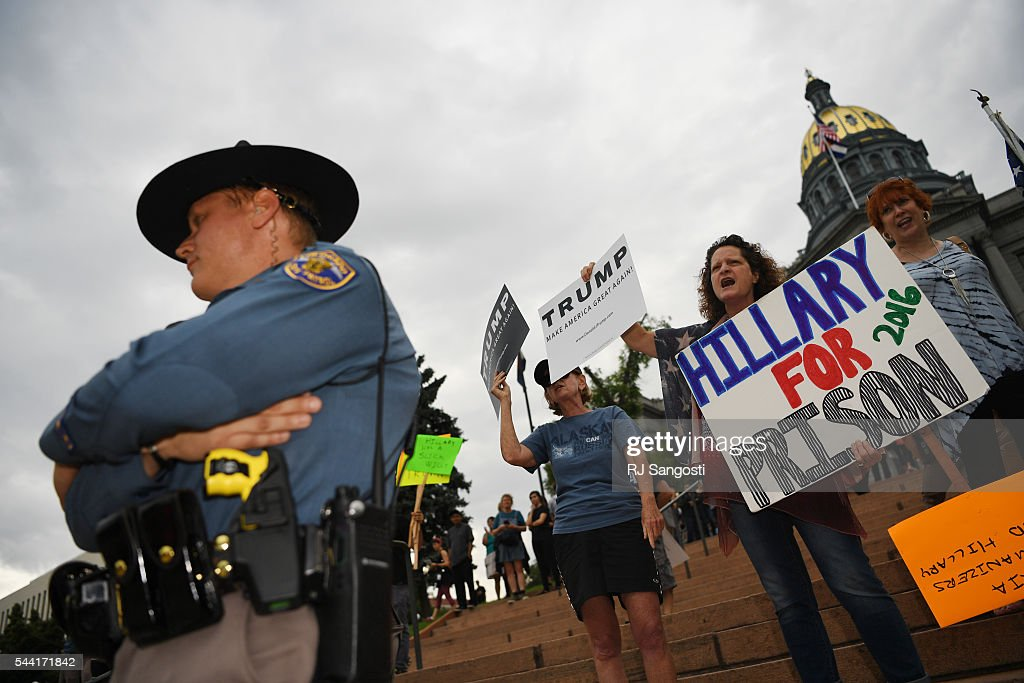 Supporter of Donald J. Trump rallies outside the Colorado State Capitol, July 01, 2016. Trump was in Denver for the 7th annual Western Conservative Summit.