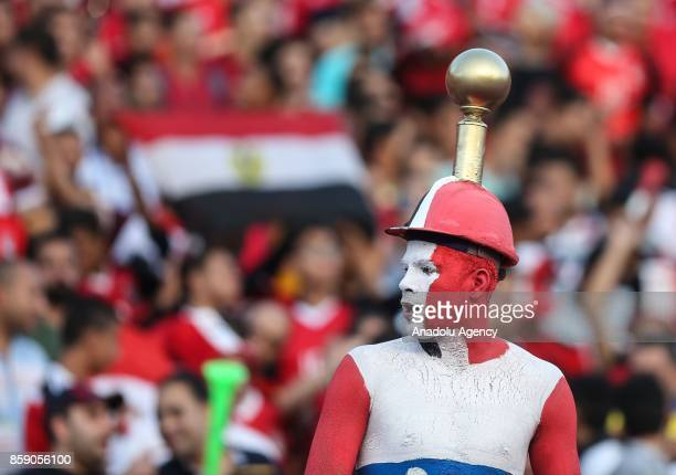 A supporter of Egypt with his face and body painted in the colours of Egyptian flag looks on during the 2018 World Cup Africa Qualifying match...