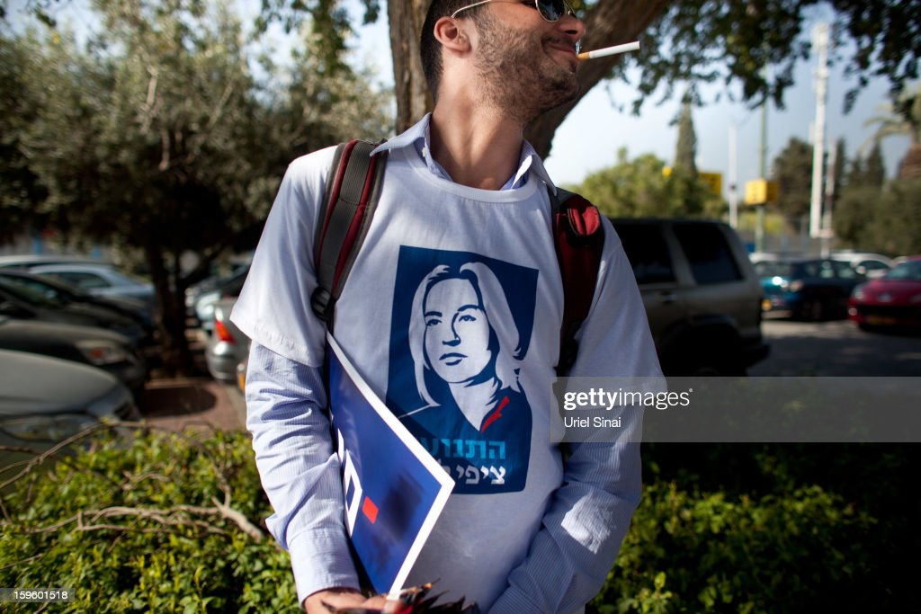 A supporter of former Israeli foreign minister Tzipi Livni, the leader of new party, The Movement, sports her image on a t-shirt ahead of an election event at a shopping center on January 17, 2013 in Ramat Gan, Israel. Israel will go to the polls on January 22.