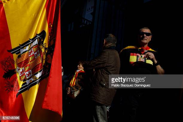 A supporter of Franco wears a tshirt with a preconstitutional Spanish flag during a rally commemorating the 42nd anniversary of Spain's former...