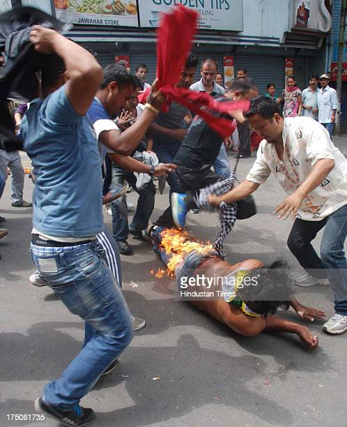 Supporter of Gorkha Janmukti Morcha Mangal Sing Rajput try to self immolation in demand for separate state of Gorkhaland at Kalimpong on July 30 2013...
