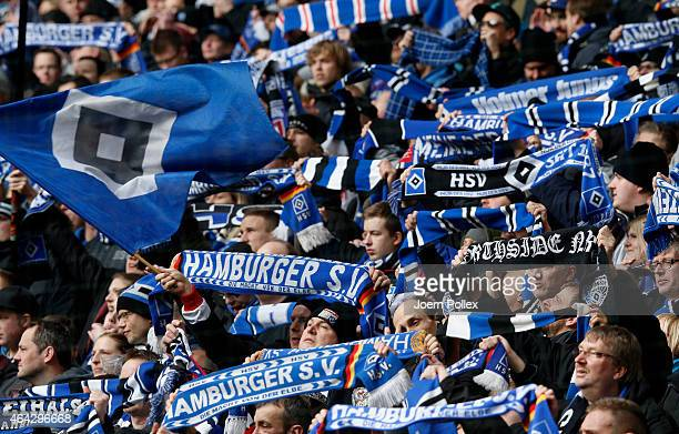 Supporter of Hamburg celebrate before the Bundesliga match between Hamburger SV and Borussia Moenchengladbach at Imtech Arena on February 22 2015 in...
