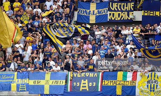 Supporter of Hellas Verona FC show their support during the Serie B match between Hellas Verona FC and Pescara Calcio at Stadio Marc'Antonio...