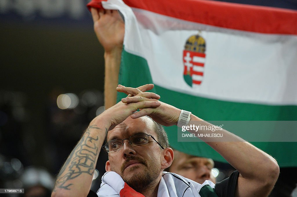 A supporter of Hungary reacts at the end of the FIFA World Cup 2014 group D qualifying football match Romania vs Hungary on September 6, 2013 in Bucharest, Romania. Romania won 3-0.