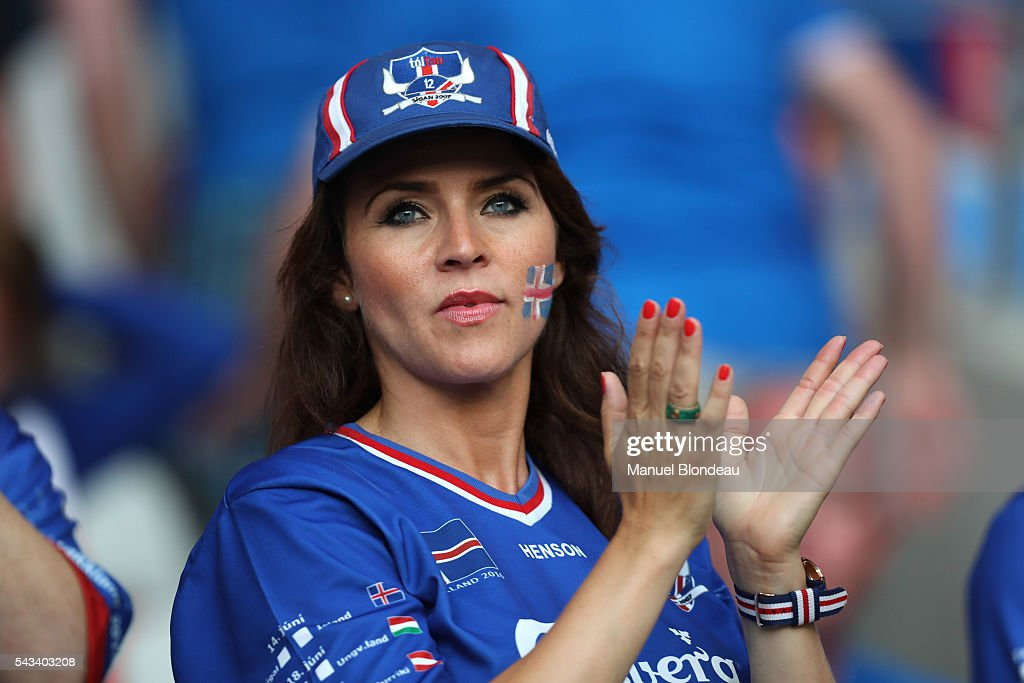 Supporter of Iceland during the European Championship match Round of 16 between England and Iceland at Allianz Riviera Stadium on June 27, 2016 in Nice, France.
