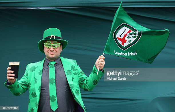 A supporter of London Irish dresses up as he enjoys the St Patrick's Party ahead of the Aviva Premiership match between London Irish and Newcastle...
