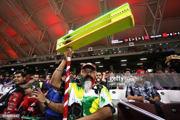 Supporter of Mexico cheers during a game between Aguilas del Mexicali of Mexico and Tigres de Licey of Dominican Republic as part of the Baseball...