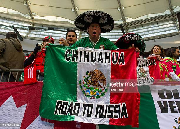A supporter of Mexico poses for a photo prior to FIFA 2018 World Cup Qualifier between Canada and Mexico at BC Place on March 25 2016 in Vancouver...