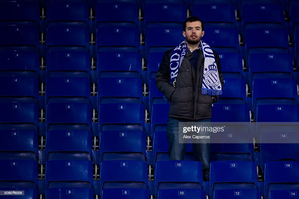 A supporter of RCD Espanyol looks dejected after the La Liga match between RCD Espanyol and Real Sociedad de Futbol at Cornella-El Prat Stadium on February 8, 2016 in Barcelona, Spain.