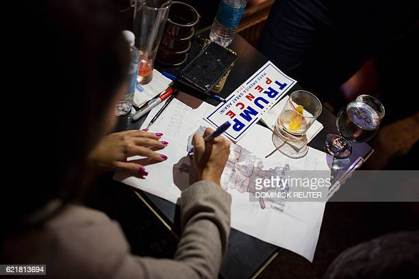 A supporter of Republican presidential candidate Donald Trump marks up a US map at the Trump Bar inside Trump Tower after midnight November 9 2016 in...
