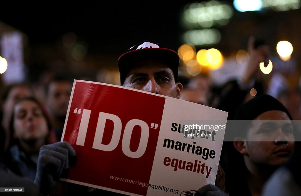 A supporter of same-sex marriage holds a sign during a rally in support of marriage equality on March 25, 2013 in San Francisco, California. Supporters of same-sex marriage held a rally and are set to march through San Francisco a day before the U.S. Supreme Court will hear arguments on California's Proposition 8, the controversial ballot initiative that defines marriage as between a man and a woman.