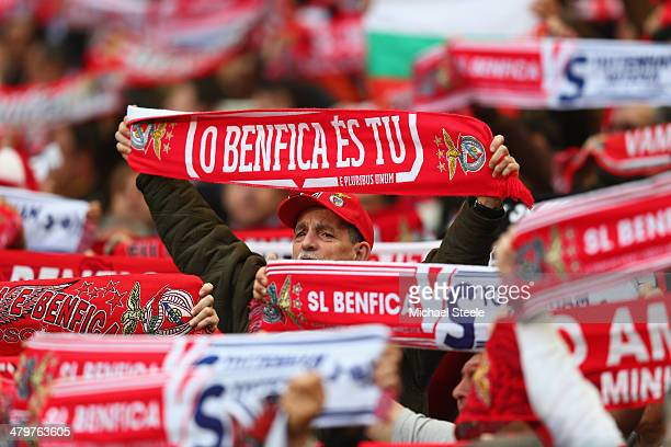 A supporter of SL Benfica looks on amongst a forest of scarves during the UEFA Europa League Round of 16 2nd leg match between SL Benfica and...