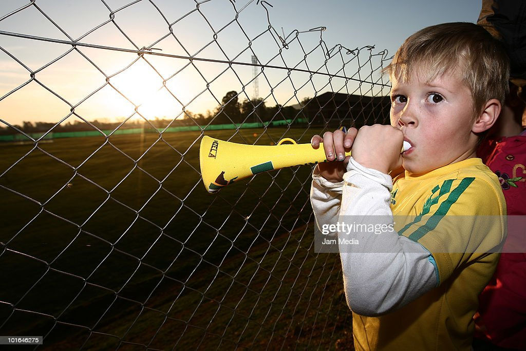 A supporter of South Africa with a vuvuzela during a training session of Mexico at Waterstone College as part of their preparation for FIFA 2010 World Cup on June 5, 2010 in Johannesburg, South Africa.