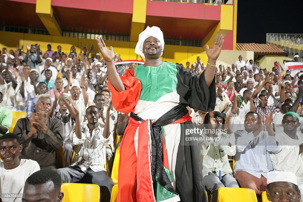 A supporter of Sudan cheers up his team before the African Cup of Nations CAN 2015 qualifying football match Sudan versus South Africa on September 5...