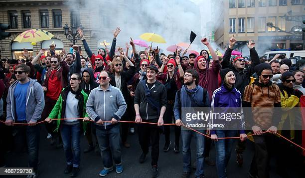 Supporter of the Blockupy movement demonstrate at the 'Roemerber' against the policies of the European Central Bank after the ECB officially...