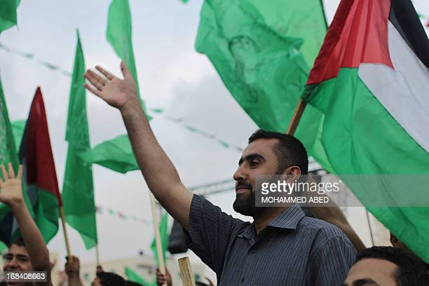 A supporter of the Palestinian Islamic group Hamas attends a festival of the International Association of Muslim Scholars head by Muslim cleric Yusuf...