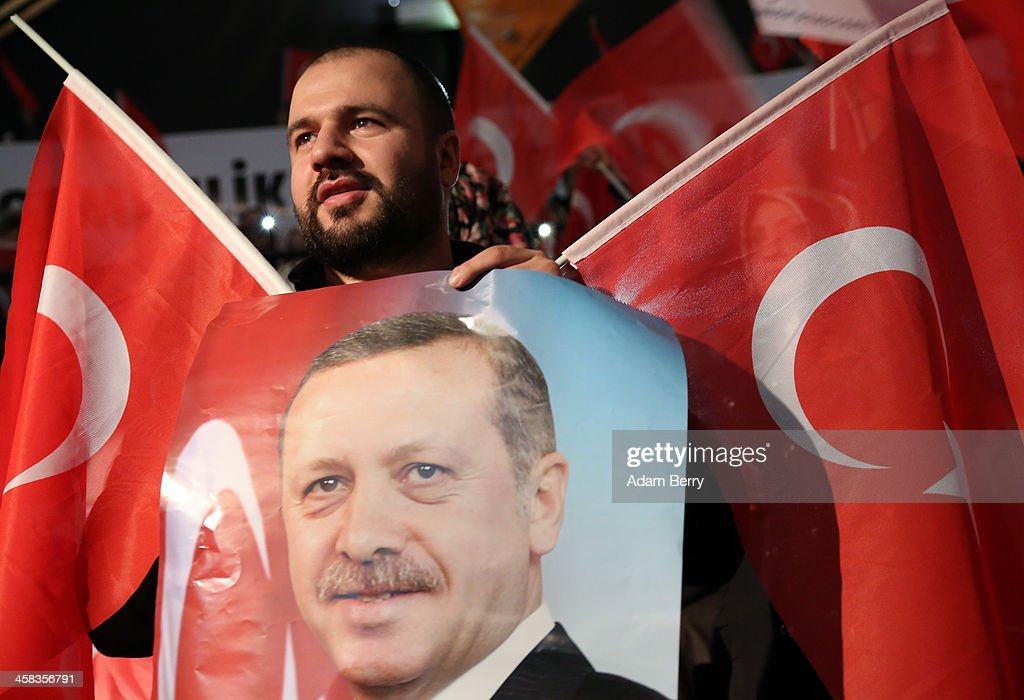 A supporter of Turkish Prime Minister Recep Tayyip Erdogan attends a rally at Tempodrom hall on February 4, 2014 in Berlin, Germany. Turkey will soon face parliamentary elections and Erdogan is vying for the votes of expatriate Turks. Berlin has the highest Turkish population of any city outside of Turkey.