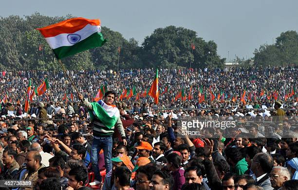 A supporter of unseen Bharatiya Janata Party Prime Ministerial candidate and Chief Minister of the western Indian state of Gujarat Narendra Modi...