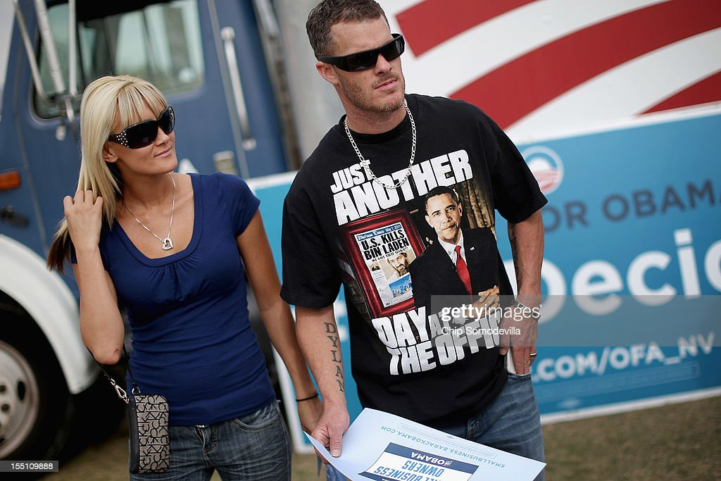 A supporter of U.S. President Barack Obama wears a t-shirt celebrating the killing of Osama bin Laden before a campaign rally on the campus of the College of Southern Nevada November 1, 2012 in North Las Vegas, Nevada. With five days remaining in the presidential campaign, Obama travels today to Wisconsin, Colorado and Nevada after spending the last four days leading the federal government's response to Superstorm Sandy.