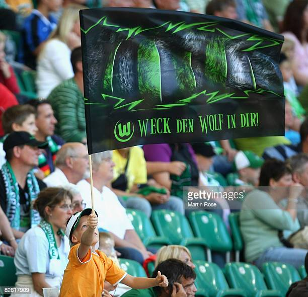 A supporter of Wolfsburg seen during the Bundesliga match between VfL Wolfsburg and Eintracht Frankfurt at the Volkswagen Arena on August 30 2008 in...