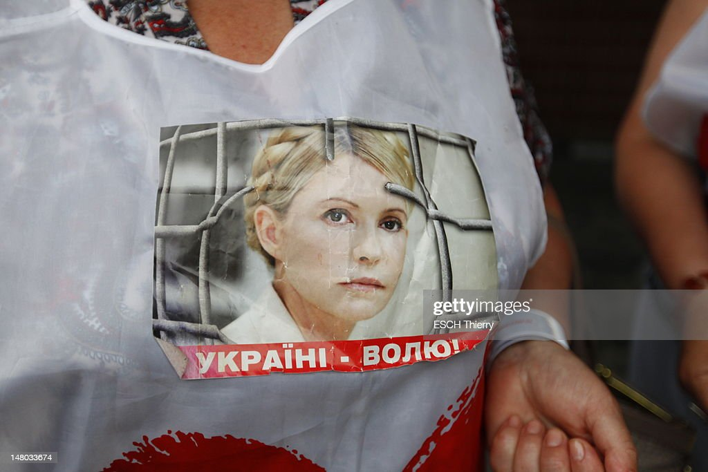 Supporter outside the hospital as Eugenia Tymoshenko visits her mother Yulia Tymoshenko the former Ukrainian prime minister jailed for abuse of power who has been on a hunger strike for the past 3 weeks at the hospital in Kharkiv to alert foreign governments on May 11, 2012 in Kharkiv, Ukraine.