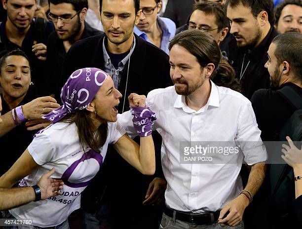 A supporter shouts at Pablo Iglesias leader of Podemos a leftwing party that emerged out of the 'Indignants' movement as he arrives to a party...