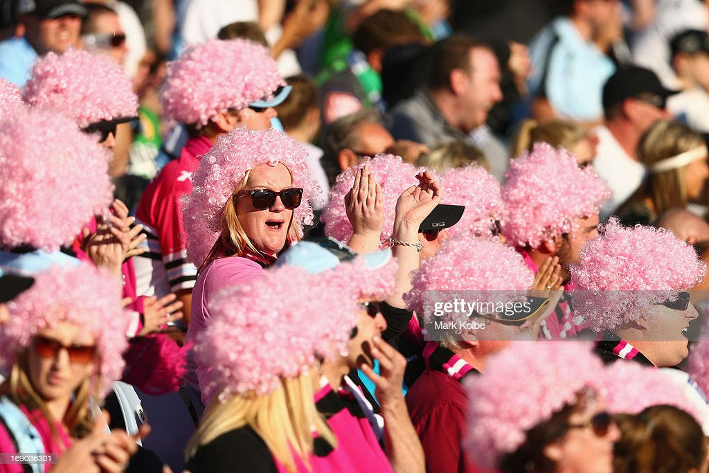 A supporter wearing a pink wig in the crowd cheers during the round 10 NRL match between the Cronulla Sharks and the Canberra Raiders at Sharks Stadium on May 19, 2013 in Sydney, Australia.