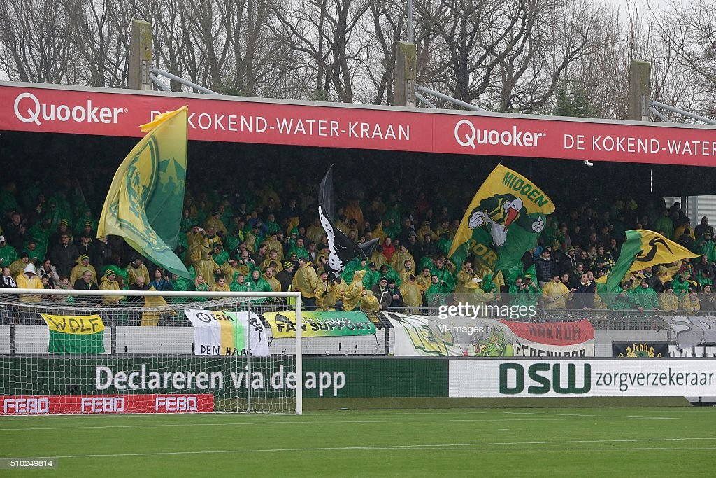 Supporters ADO Den Haag during the Dutch Eredivisie match between Excelsior Rotterdam and ADO Den Haag at Woudenstein stadium on February 14, 2016 in Rotterdam, The Netherlands
