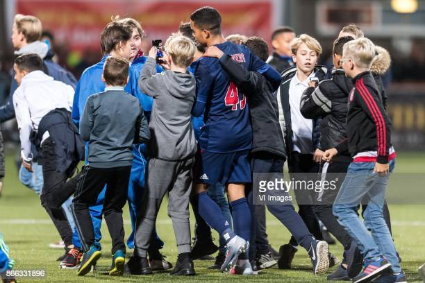 supporters after the match with Justin Kluivert of Ajax during the Second Round Dutch Cup match between De Dijk and Ajax Amsterdam at Kras stadium on...