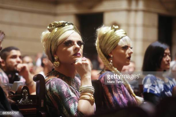 LGBT supporters and drag queens Sara and Nina sit at a protest held inside city council on May 16 2017 in Rio de Janeiro Brazil Protestors occupied...
