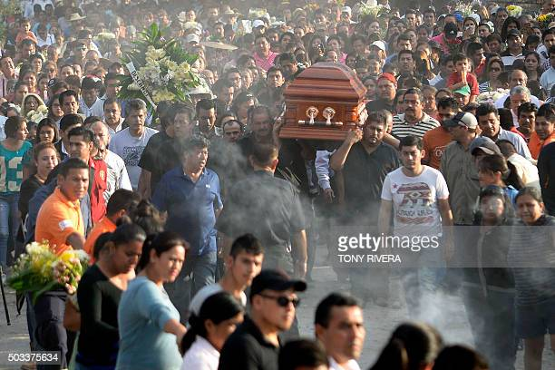 Supporters and family accompany to the cemetery the coffin of Gisela Mota newly elected mayor of Temixco Morelos state Mexico murdered on Saturday by...