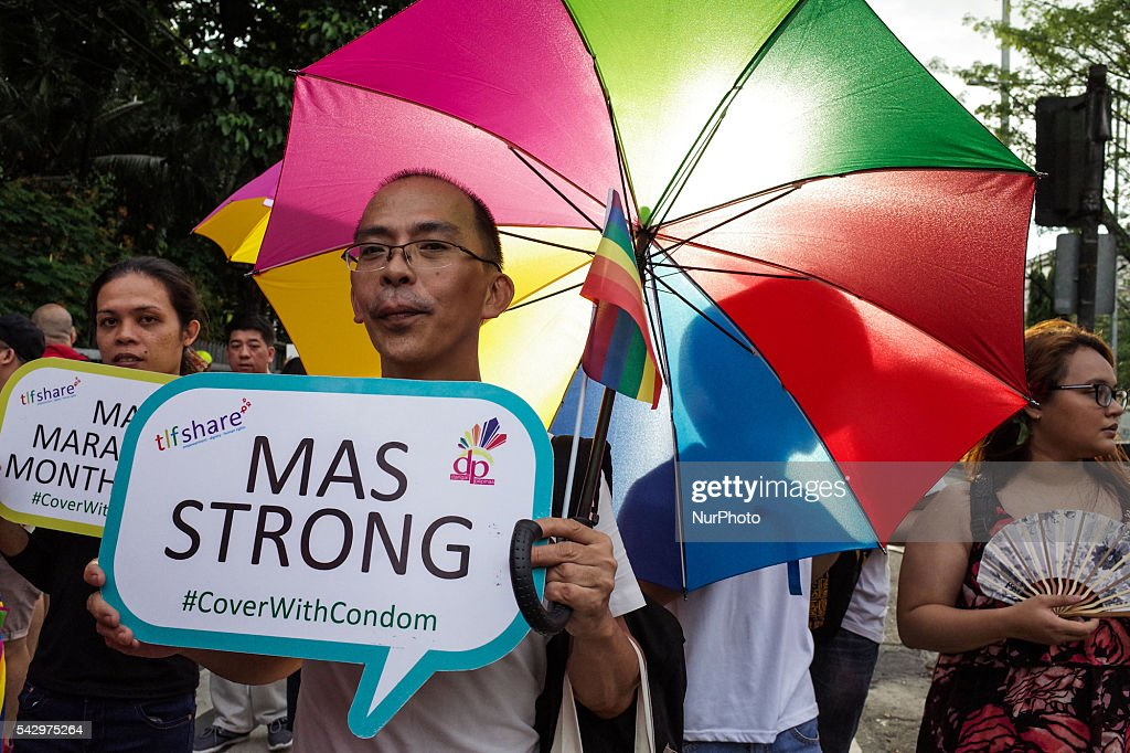 Supporters and members of the LGBT community march around the Rizal Park during the annual LGBT pride parade in Manila on Saturday, 25 June 2016. Hundreds of supporters and members of the lesbian, gay, bisexual, and transgender (LGBT) community paraded in Manila calling for the passage of an anti-discrimination law, as well as calling for justice for the shooting in a gay club in Orlando that left 53 people dead.