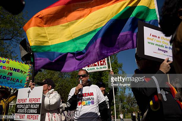 Supporters and opponents of samesex marriage demonstrate near the Supreme Court April 28 2015 in Washington DC On Tuesday the Supreme Court heard...