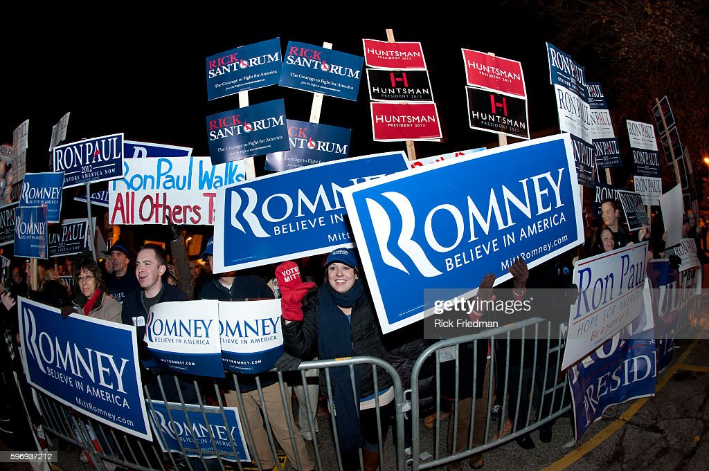 Supporters and protesters outside the Repblican Presidential candidates debate at St Anslem's College in Goffstown NH on January 7 2012
