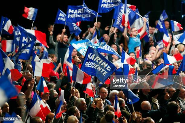 Supporters are seen during the campaign rally of the President of French farright Front National party Marine Le Pen on February 26 2017 in Nantes...