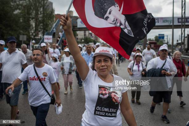 Supporters are seen marching on a highway on the 20th day of the 'Justice March' lead by Turkey's main opposition Republican People's Party leader...