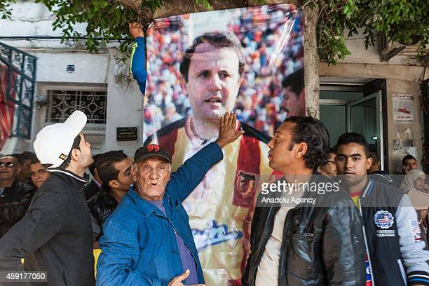 Supporters are seen outside of the court as Slim Chiboub former president of Esperance Sportive de Tunis sports club and soninlaw of Tunisia's ousted...