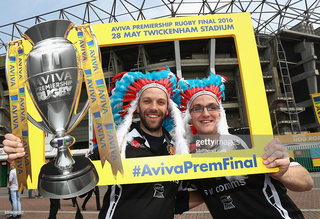 Supporters arrive early prior to the Aviva Premiership final match between Saracens and Exeter Chiefs at Twickenham Stadium on May 28, 2016 in London, England.