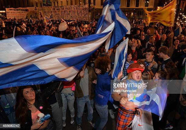 Supporters at a 'Yes' rally in George Square react on September 19 2014 in Glasgow Scotland Polls have now closed in the Scottish referendum and the...