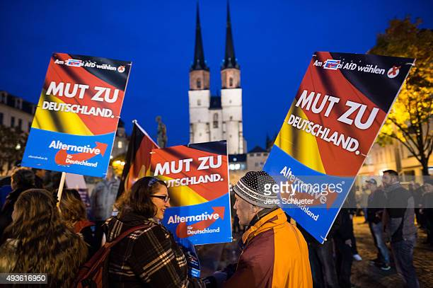 Supporters at an AfD rally on October 21 2015 in Halle Germany The AfD which stands for Alternative fuer Deutschland or Alternative for Germany...