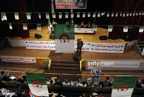 Supporters attend a campaign meeting of the head of the Algerian Workers' Party Louisa Hanoune ahead of the upcoming presidential election on April 8...