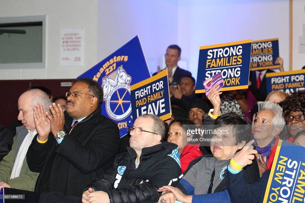 Supporters attend a rally where U.S. Vice President Joe Biden spoke on paid family leave with NY Governor Andrew Cuomo who delivered remarks on the economy on January 29, 2016 in New York City.