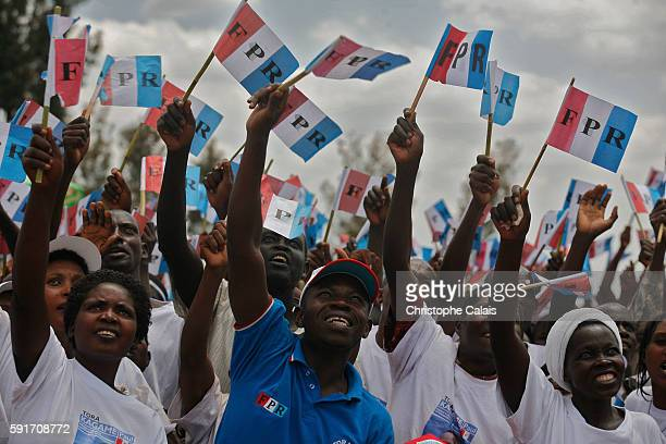 Supporters attend a Rwandan Patriotic Front political rally in Gahanga Kirehe district East of the country for the reelection of the Pesident Paul...