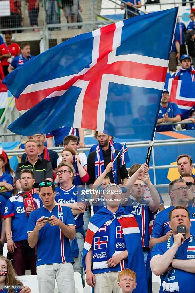 Supporters attend the Euro 2016 group F football match between Iceland and Hungary at Stade Velodrome on June 18, 2016 in Marseille, France. The game ended in a 1-1 draw.