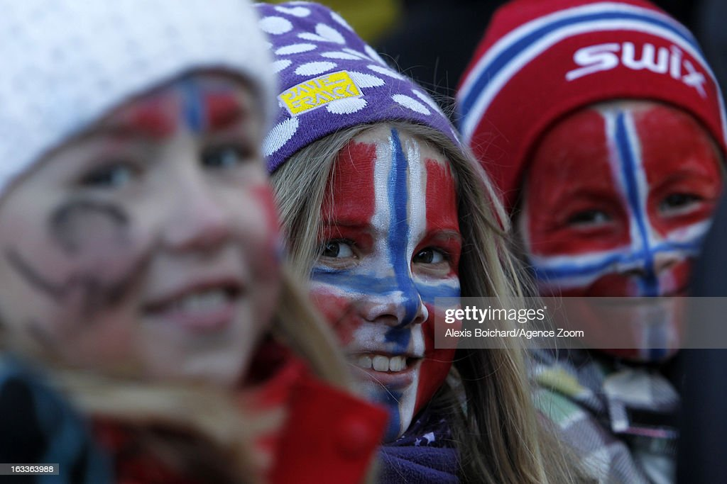Supporters attend the FIS Freestyle Ski World Championship Men's and Women's Dual Moguls on March 08, 2013 in Voss, Norway.