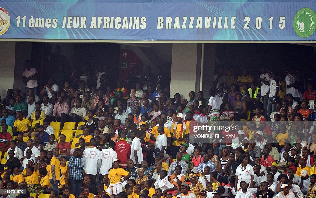 Supporters attend the opening ceremony of the 11th Africa Games in Brazzaville on September 4 2015 AFP PHOTO/MONIRUL BHUIYAN