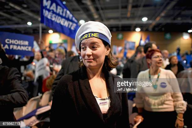Supporters await Presidential Candidate Marine Le Pen ahead of A rally meeting in Villepinte on May 1 2017 in Villepinte France Le Pen faces Macron...