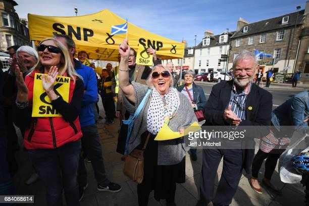 SNP supporters await the arrival of party leader Nicola Sturgeon as she campaigns with the candidate for East Lothian George Kerevan on May 17 2017...