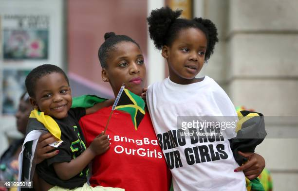 Supporters calling for the release of schoolgirls abducted by Boko Haram Islamists protest outside the Nigerian embassy on May 17 2014 in London...